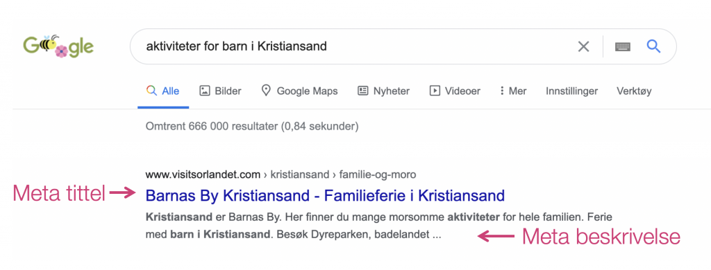 Screenshot søkeresultat på Google