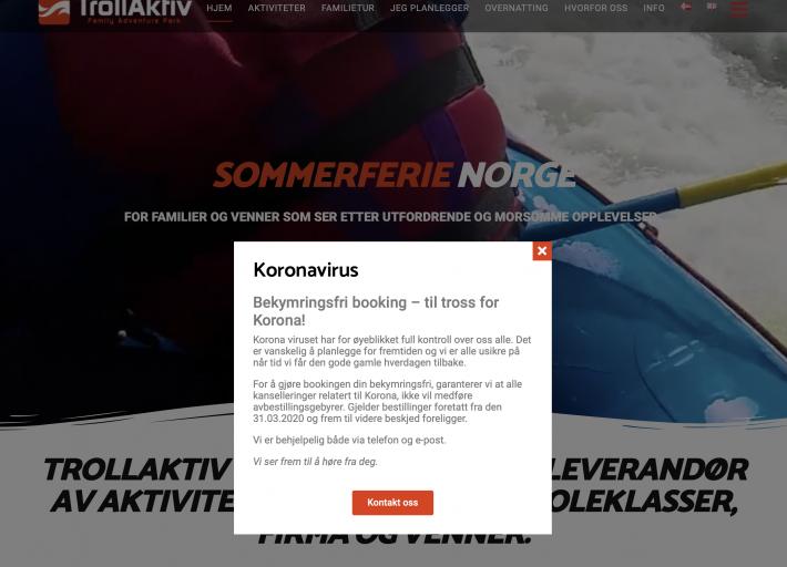 Screenshot TrollAktiv nettside