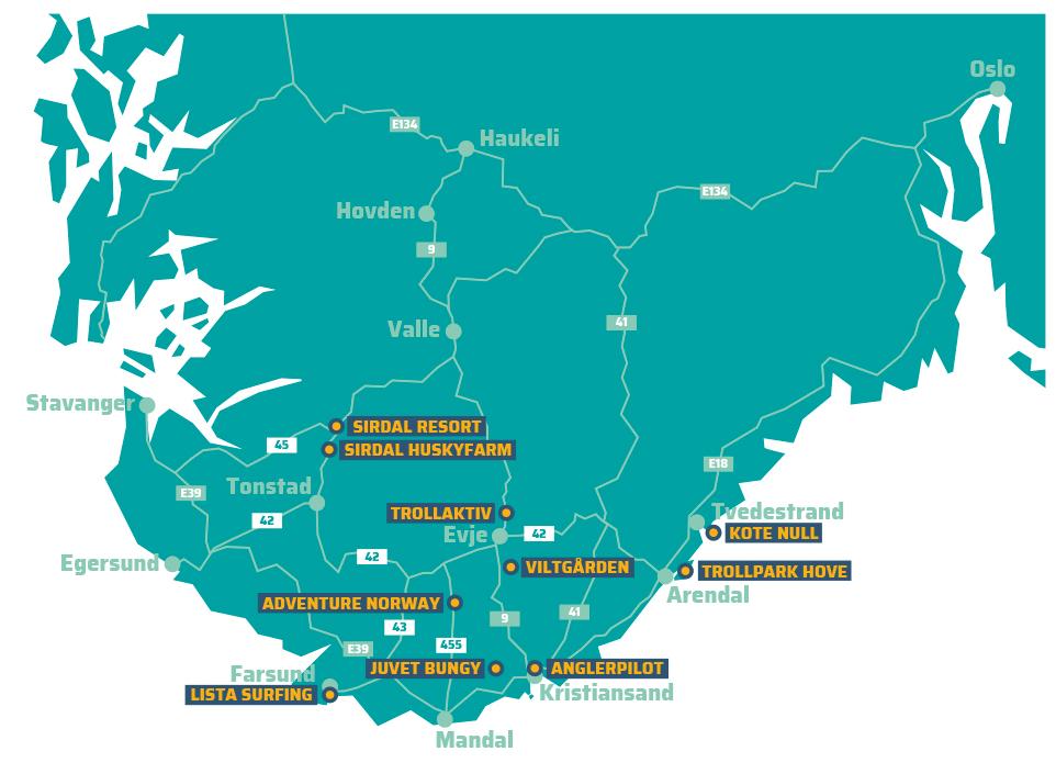 Kart over aktivitetsbedrifter på Sørlandet
